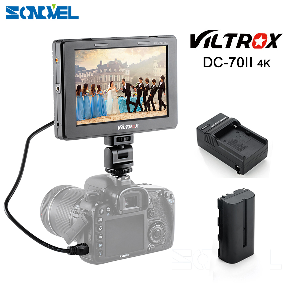 Viltrox 7'' LCD Monitor DC-70II Clip-on Color TFT HD Display 4K HDMI AV Input 1240x600 Resolution battery for DSLR Camera Video