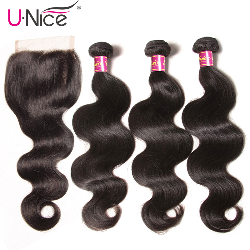 "UNICE Hair Brazilian Body Wave Virgin Hair Bundles With Closure 4PCS Human Hair Bundles With Closure 8-26 ""Virgin Hair Extension(China)"