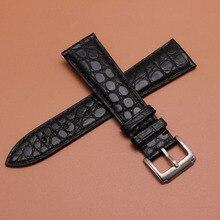 16 мм 18 мм 19 мм 20 мм 21 мм 22 мм Размер доступны черные часы из натуральной кожи аллигатора Ремешок WristWatch браслеты ремни Пряжка