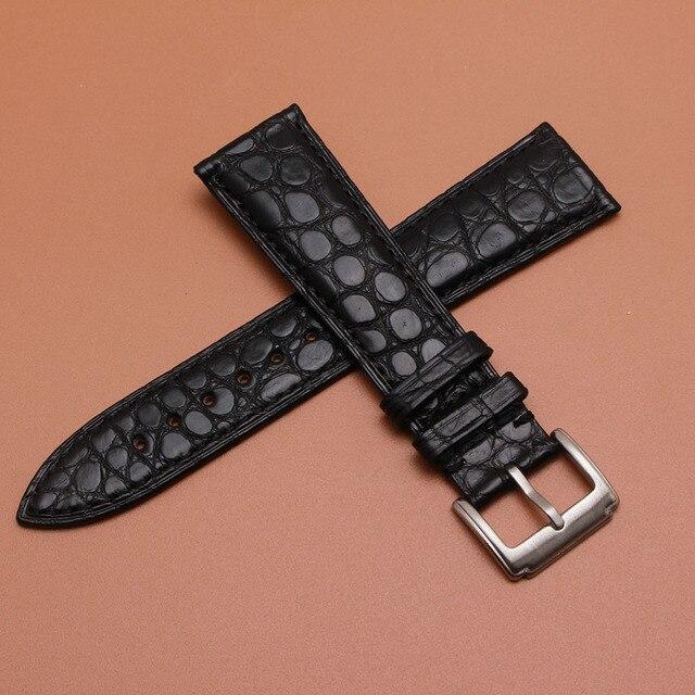 """16 מ""""מ 18 מ""""מ 19 מ""""מ 20 מ""""מ 21 מ""""מ 22 מ""""מ גודל רצועת שעון עור תנין אמיתי שחור זמין להקת Writwatch צמידי אבזם חגורות"""