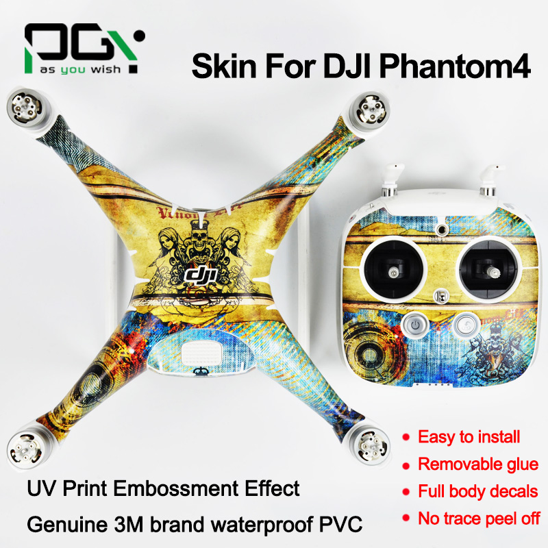 PGY DJI Phantom 4 PVC sticker stickers skin 3M PVC phantom4 Waterproof decals RC Quadcopter FPV Camera Drone parts PGY-P4S-AN4