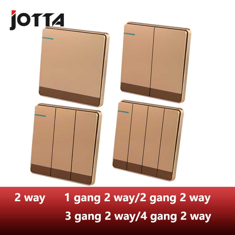 Luxury Rose Gold Slim Wall Switch Panel lampu 1 Gang/2 Gang/3 Gang/4 Gang Push Button Rocker Switch 16A, 110 ~ 250 V, 220V