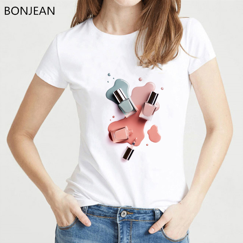 Summer 2019 Vogue T Shirt Women Watercolor Nail Polish Tshirt Femme Harajuku Kawaii Top White 90s Female T-shirt Drop Shipping