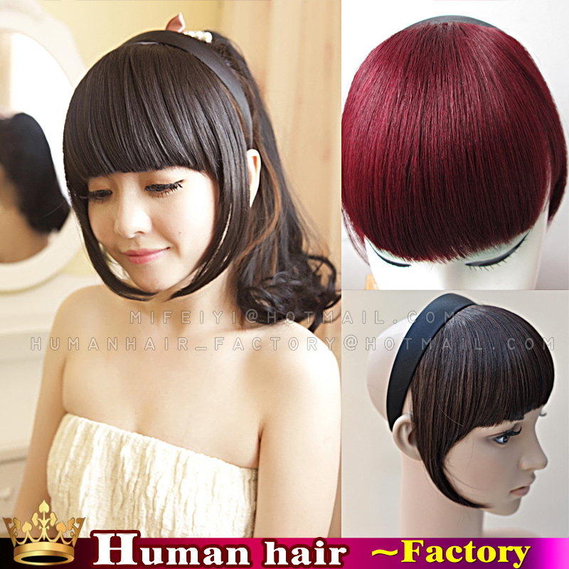 Human Real Hair Straight Clip In Extension Fringe Bangs Headbands Front Frange Piece Neat Bang With Hoop On Aliexpress