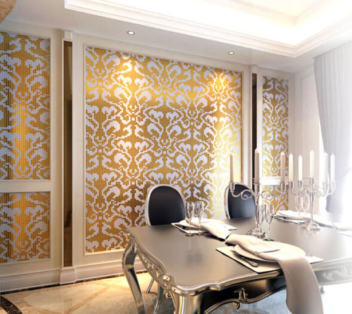 Customized Golden White Gl Mosaic Wallpaper Tile Home Decor Damask Pattern