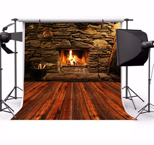 Image 2 - Laeacco Stone Wall Wooden Floor Fireplace Fire Wood  Photography Backgrounds Customized Photographic Backdrops For Photo Studio
