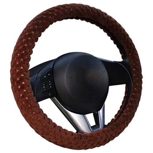 Winter Car Steering Wheel Cover/Universal Soft Warm Plush Covers for steering women men girl car interior brown