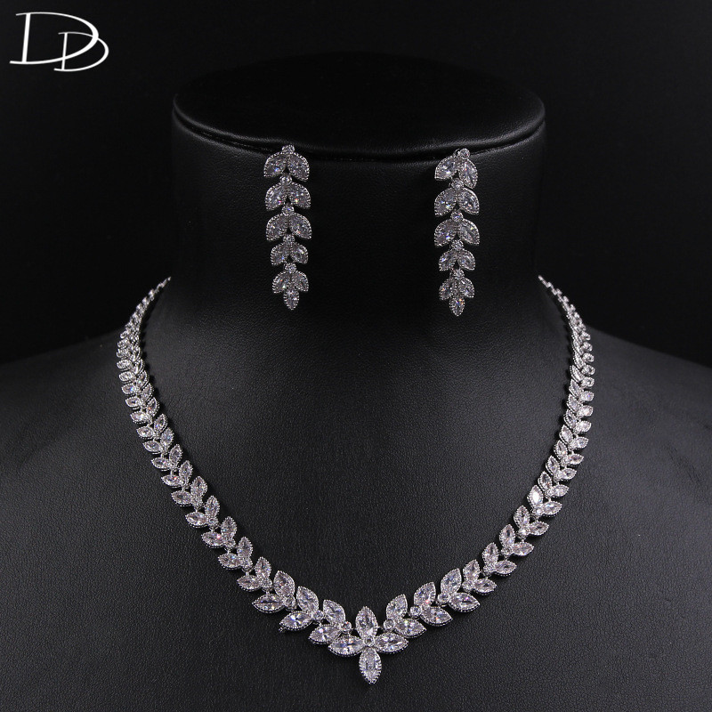 DODO Olive Branch Leaves Elegant Necklace Earrings Sets Copper & AAA Cubic Zircon Jewelry Sets Wedding Bridal Bijoux Gift D15239 madrry elegant flower shape copper jewelry sets full cubic zircon necklace