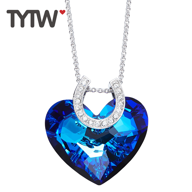 TYTW Crystals From Austrian Brass Women Necklaces Chic Fashion Jewelry Ocean Heart Blue statement necklace Elegant Party Choker