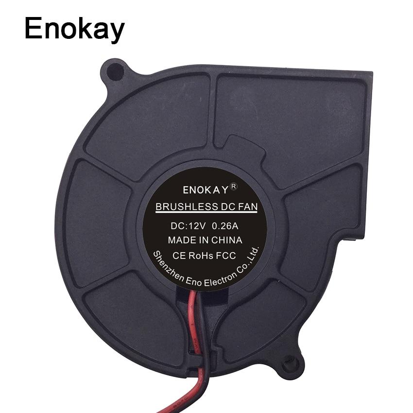 2 Pieces Enokay 2Pin 12V 75x75x30mm 75mm Turbo Blower Radial DC Cooling Fan 5pcs fan 5v 12v 24v 50mm 5015 50x50x15mm blower turbo fan pla reprap 3d printer humidifier centrifugal turbo blower cooling fans
