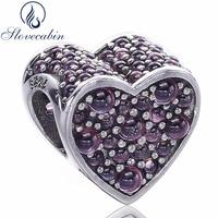 Slovecabin Réel 100% 925 Sterling Argent Forever Love Coeur Perle de Charme Fit Original Pandora Bracelet Diy Bijoux Maquillage