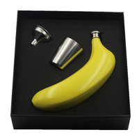 Luxury Banana Hip Flask Yellow With A Funnel And Two Cups Grade 304 Stainless Steel Novel