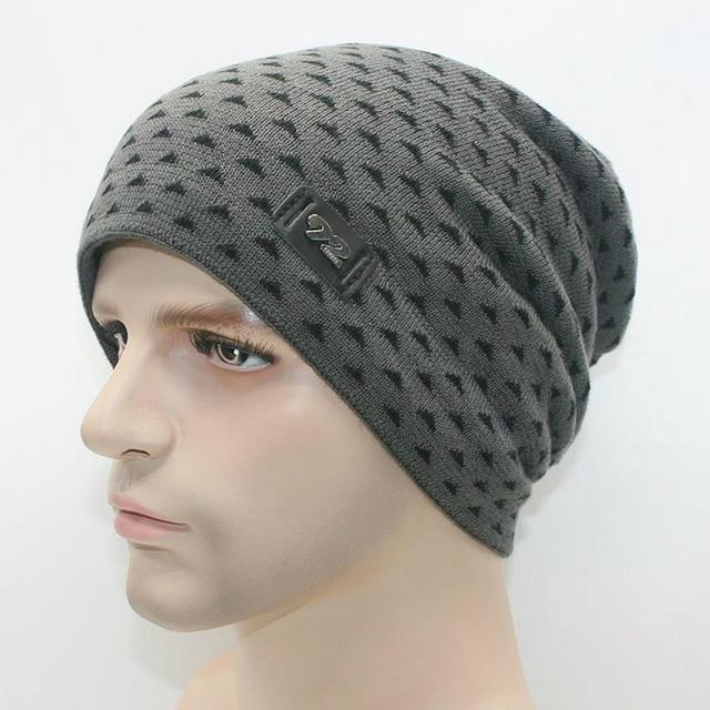 7 Colors Beanies Skullies Winter Hat Knitted Cap Men Velvet Woolen Field Workout Hip Hop Patchwork Skee Hats Black Grey Khaki