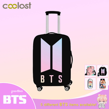 """BTS KPOP Print Luggage Protective Cover Travel Accessories Harajuku Ulzzang Elastic Anti-dust Trolley Suitcase Cover For 18""""-28"""""""