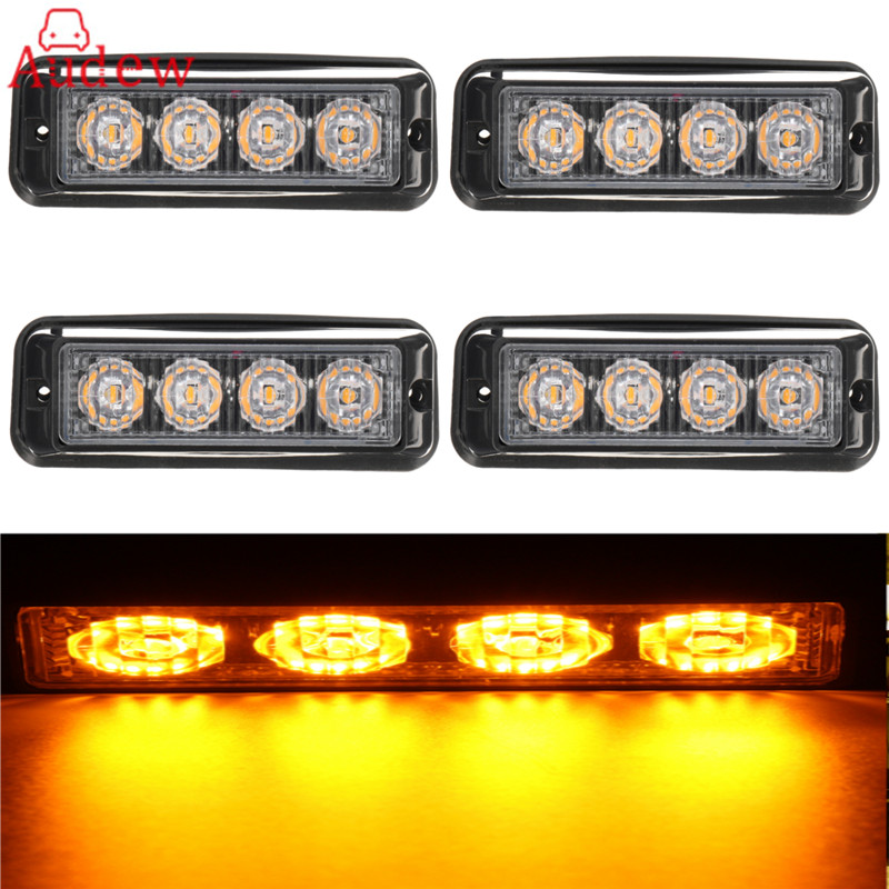 4Pcs 4LED Car Side Light Truck Emergency Beacon Warning Light Bar Hazard Strobe Yellow Amber Day Lamp 4 led 12 24v car strobe flash light white red amber light vehicle truck rear side light car emergency warning lamp drop shipping