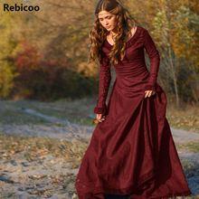 Classic Vintage Women Medieval Dress Cosplay Costume Princess Renaissance Gothic Moda Feminina
