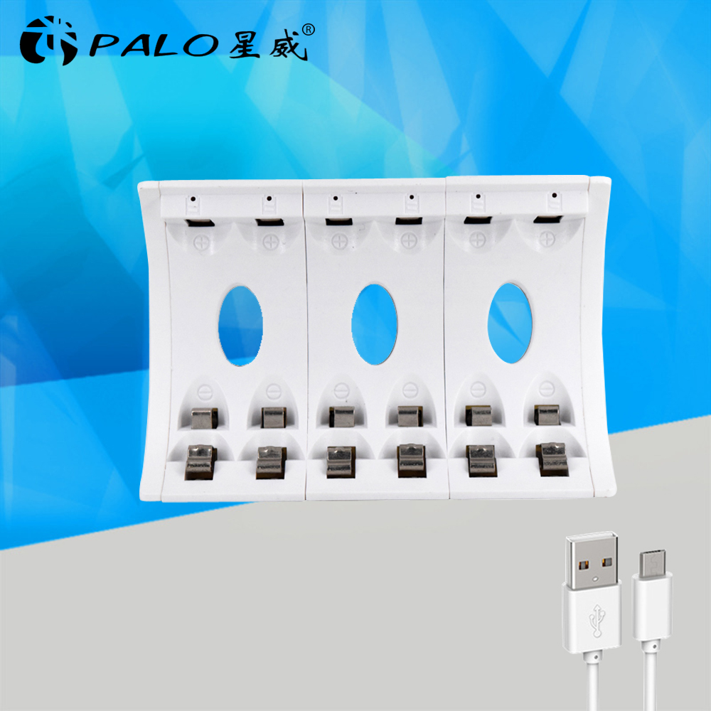 PALO New 6 Slot battery charher NC502 smart USB rechargeable battery charger LED display For ni-mh ni-cd battery AA AAA bateria