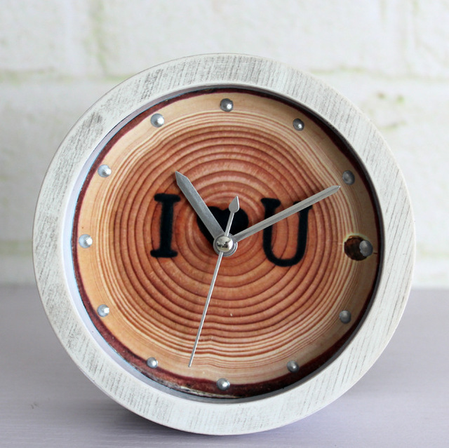 Ring Brand Creative Wood Clock Natural Retro Garden Table Bell Seat ...