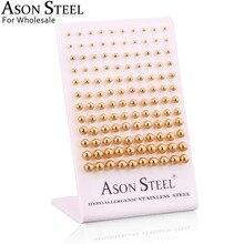 ASONSTEEL pendiente de bola quirúrgica tamaño 3mm 8mm, pendientes de semental hembra, 60 par/lote, Color dorado/Negro/oro rosa/plata