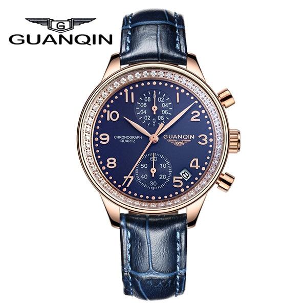 ФОТО GUANQIN GQ15008 lady Chronograph Original Diamond Watch Woman Famous Brand Quartz Leather Dress Watch
