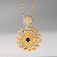 CMajor Italian Craftwork Sterling Silver Two Tone 5A Cubic Zircon Lace Flower Vintage Pendant Necklaces Gift For Women