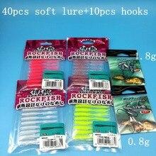 TSURINOYA  50PCS/LOT New AJING Fishing Lure 40PCS SOFT LURE+10PCS HOOKS 0.4g/60mm 4colors Rockfish Bait Needle tail Soft