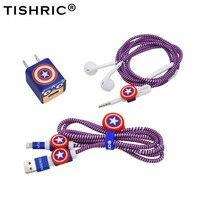 TISHRIC-Protector de Cable USB para Iphone 5/6/6s/7/8, soporte para cables, organizador/enrollador/protección