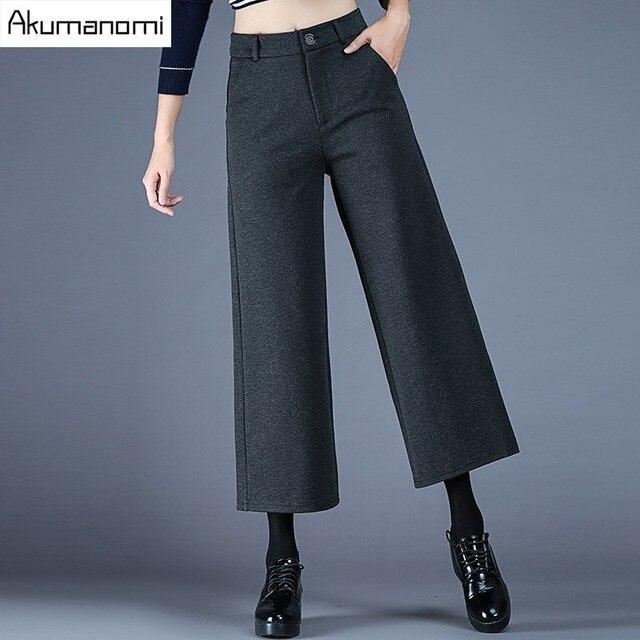 7164e9b2884d Autunno Inverno pantaloni Larghi del Piedino Caviglia-Lunghezza Pants Black  Grey Zipper Fly tasca Dei