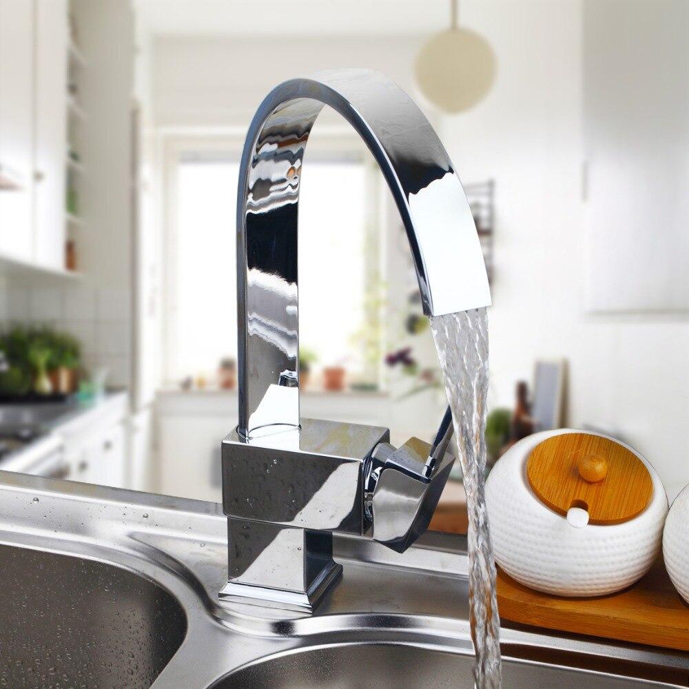 Soild Chrome Brass Kitchen Swivel Spout Faucet Mixer Tap W Hole Cover Plate