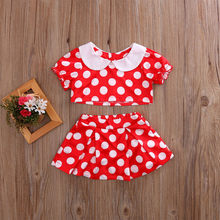 Polka Dot Printed Baby Girl Swimwears 2Pcs Toddler Kids Baby Girls Summer Outfits Clothes Cartoon Tops+Skirt Set 0-5Y(China)