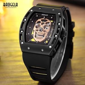 Image 3 - Baogela Fashion Mens Skeleton Skull Luminous Quartz Watches Military Style Black Silicone Rectangle Dial Wristwatch for Man1612