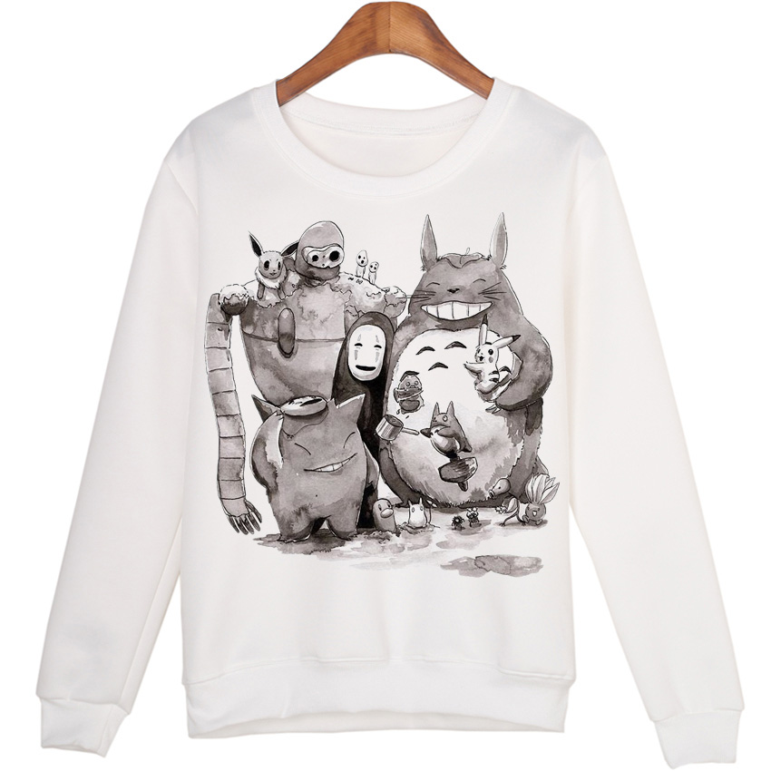 Cartoon Totoro Casual Sweatshirts Women Moleton Sudaderas Hoodies Harajuku Cute Coat Tops WMH42