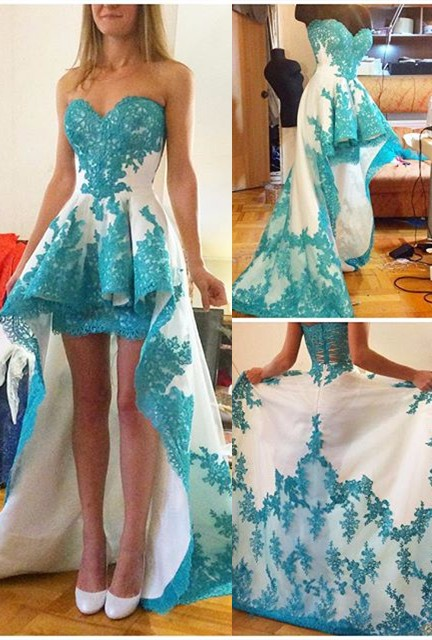 Turquoise White Two Toned Short Front Long Back Homecoming Dresses 2019 New Sweetheart Appliques High Low