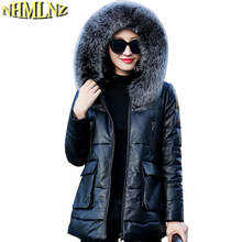 New Winter Hooded Warm Genuine Leather Down jacket Women Large size Genuine Leather jacket Women Long sleeve Leather TN036
