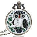 Новая Мода Бронзовый Vintage Полный Охотник Jade Симпатичные Сова Карманные Часы с Цепочкой Ожерелье Подвеска Подарки Девушки Женщин