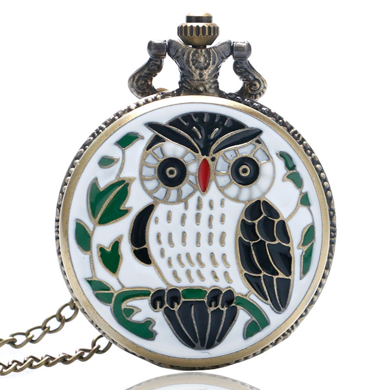YISUYA New Fashion Bronze Vintage Full Hunter Jade Cute Owl Pocket Watch With Chain Necklace Pendant Gifts Women Girl