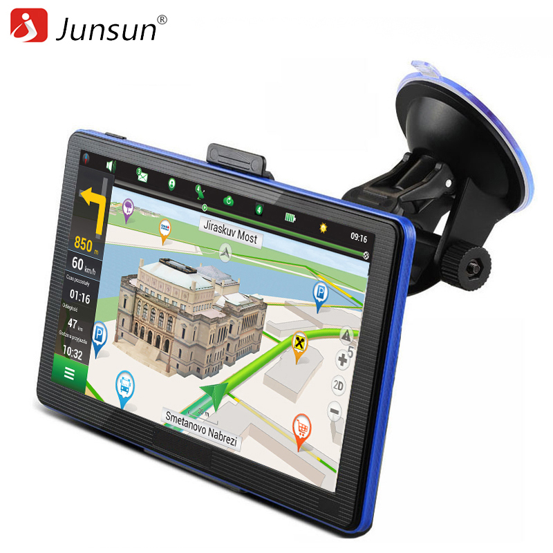 Junsun 7 inch Car GPS Capacitive Navigation FM MP3/MP4 Players Truck gps navigator Detailed Maps Navitel/Europe Free Updates ultra thin 7 touch screen lcd wince 6 0 gps navigator w fm internal 4gb america map light blue