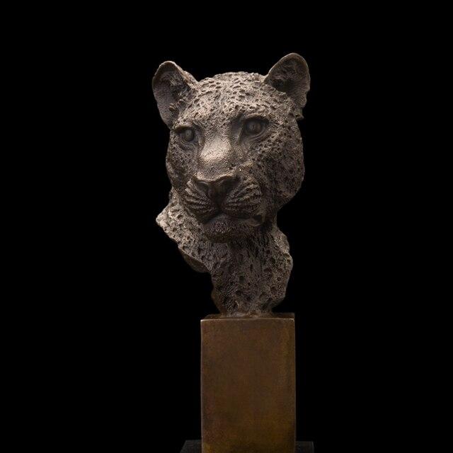 BEST Supplier Bronze Leopard Head Statue Figurines sculpt ures Signed by P.J Mene  Antique Home Decor
