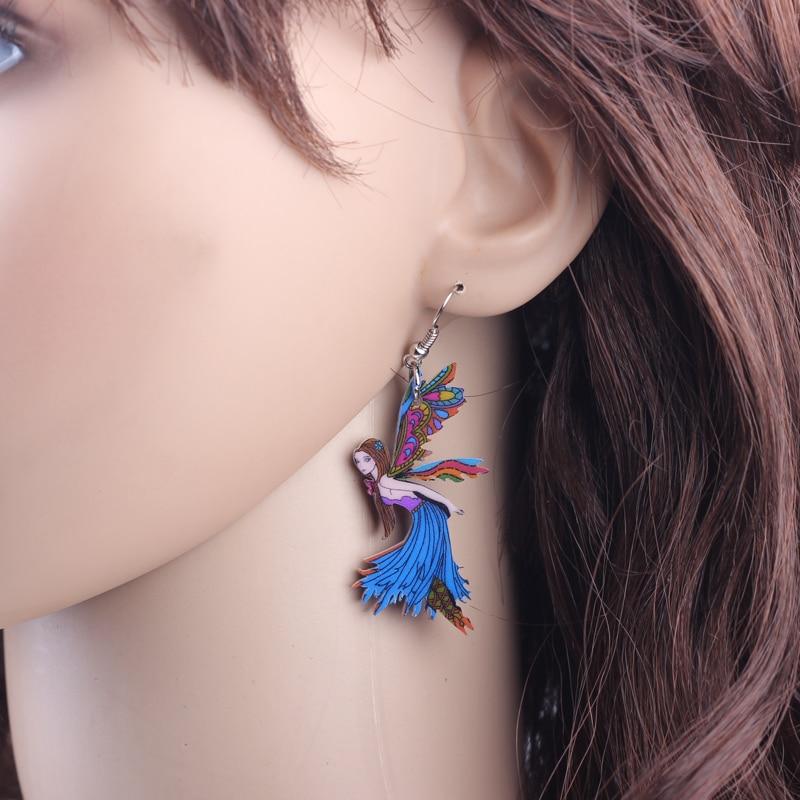 Bonsny Fairy Drop Earrings Acrylic Pattern Dangle Earrings Fashion ...