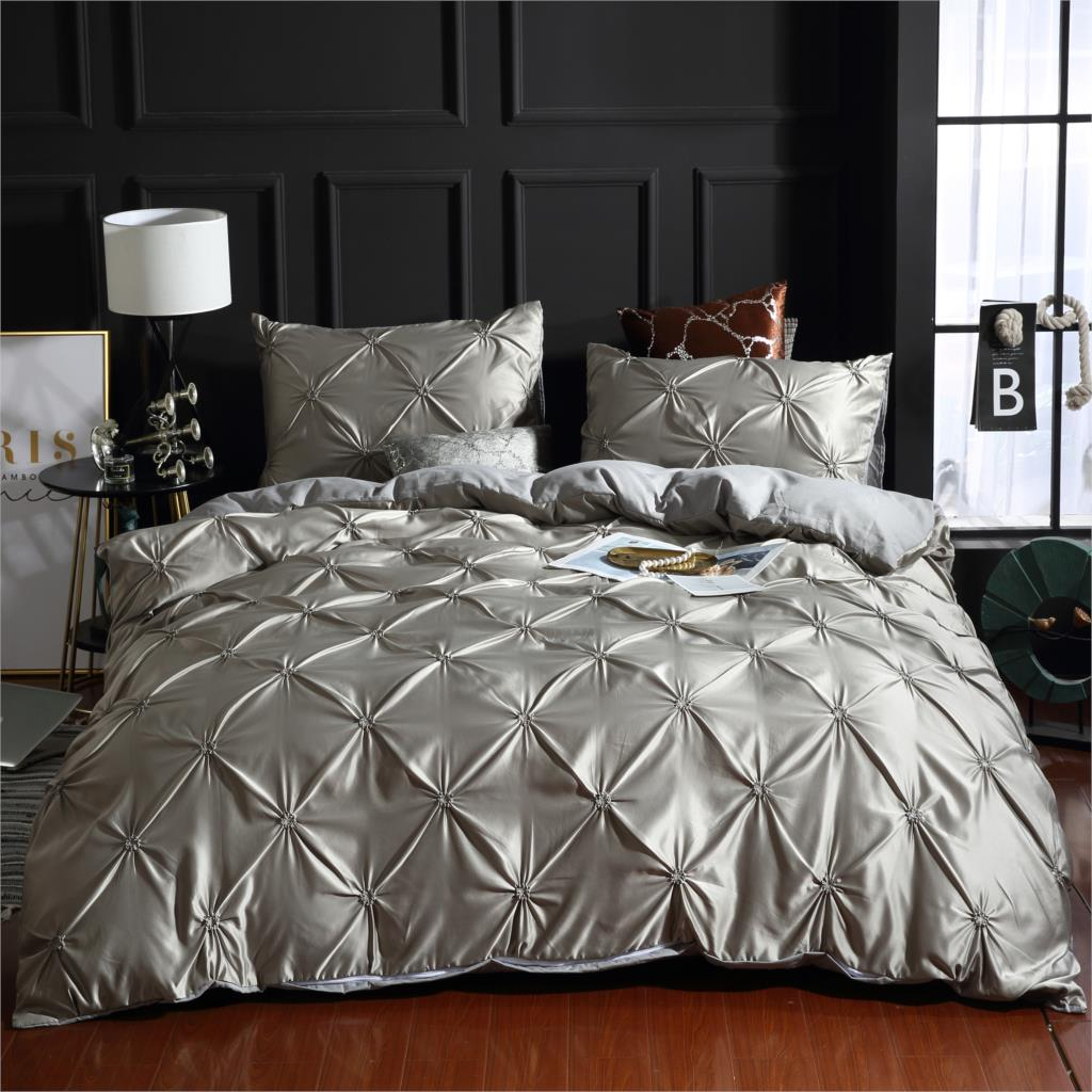 Drop Shipping 2/3pcs  Duvet Cover Set Silver Gray Bedding Sets Full/Queen/King Size No Filling No Sheet Imitation Silk