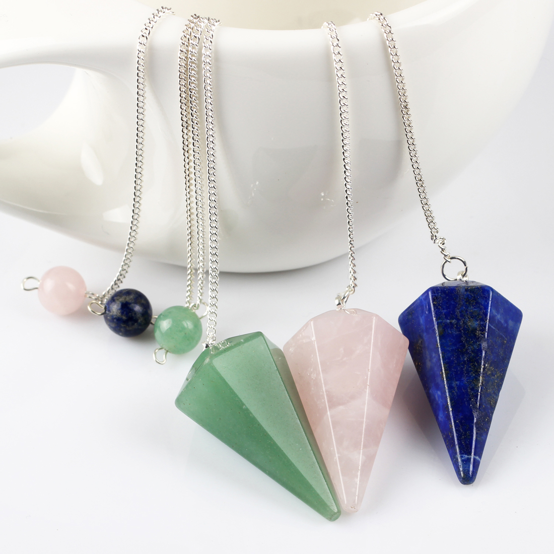 3pcs Natural Quartz Lapis Green Aventurine Crystal Pendulum Amulet Healing Pendants Meditation Reiki Beads Hexagonal Face Stone