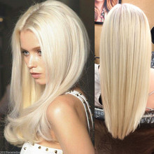 Best Quality Cheap Virgin Brazilian Hair Straight  Blonde Front Human Hair Wigs  For White Women Color613 Lace Front Wig