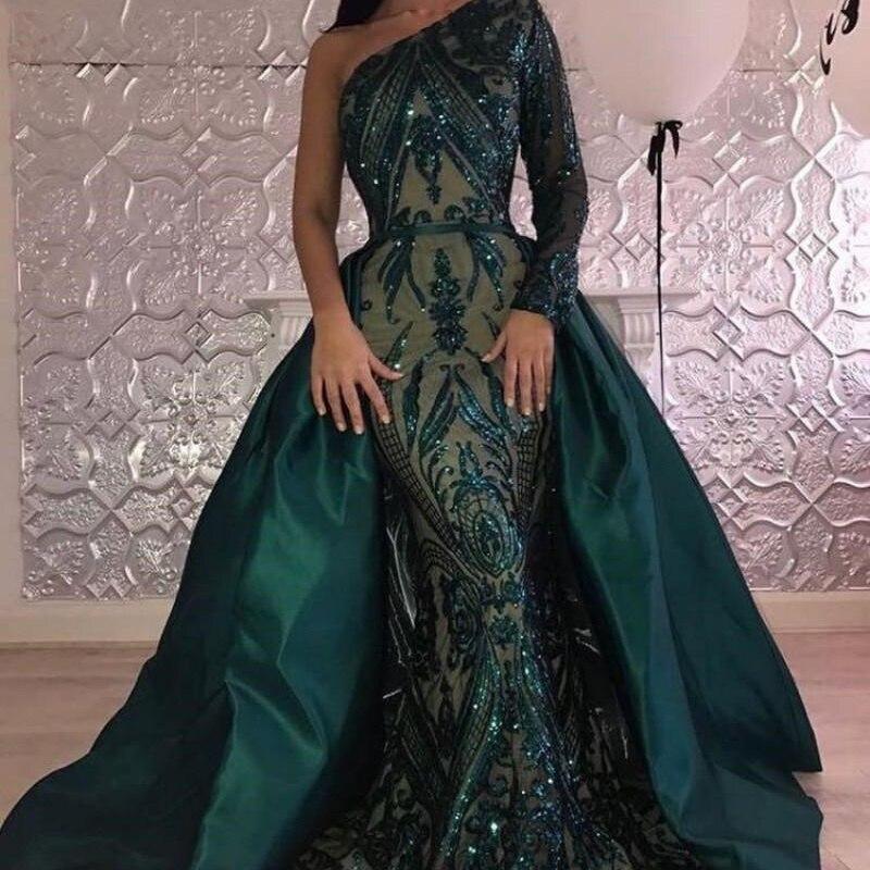 Vestidos de Noche de color verde oscuro de lujo 2019 vestidos de un hombro vestidos de sirena con lentejuelas con tren desmontable - 3