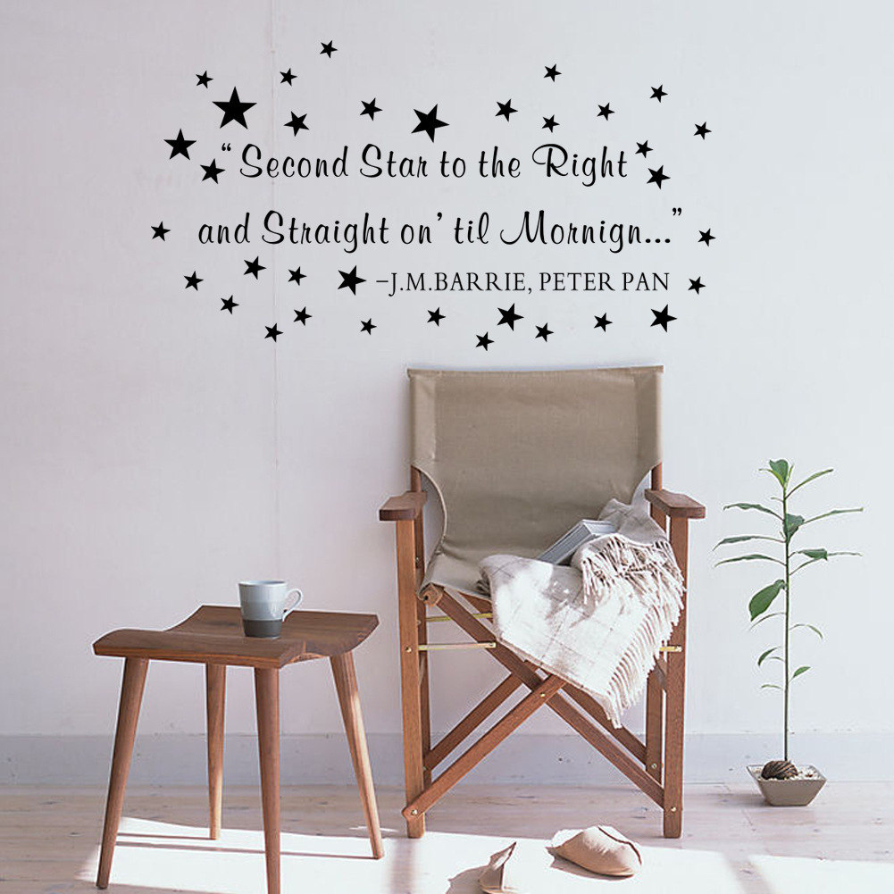 Peter pan quote wall stickers image collections home wall letter quote wall decal second star to the right and straight on letter quote wall decal amipublicfo Gallery