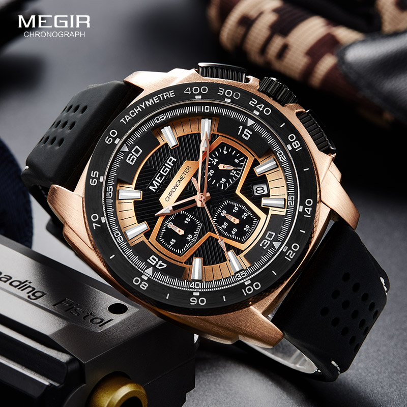 Megir Males Mens Chronograph Sport Watches With Quartz Movement Rubber Band Luminous Wristwatch For Man Boys 2056G-1N0