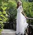 Bohemian Estilo Romântico A Linha de Vestidos de Casamento 2016 Mangas Meia Pura Boho Chique de Volta com Sash Vestidos de Noiva vestido de noiva