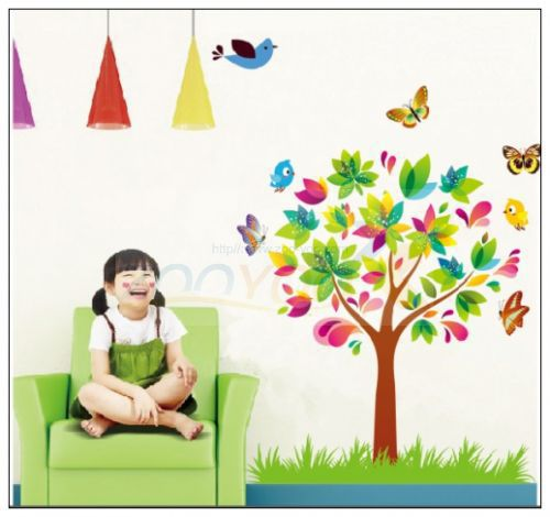 Rainbow color cartoon tree butterfly wall stickers for Rainbow wallpaper for kids room
