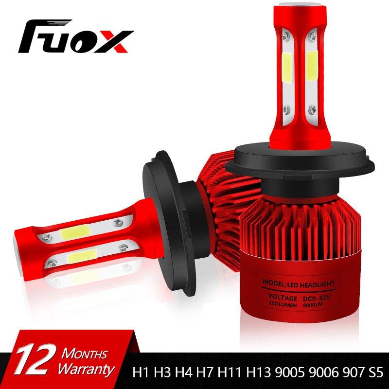 2 Pz 12 V 24 V Auto Faro H4 LED H7 H1 H3 H11 H13 HB2 HB4 HB5 9004 9005 9006 9007 72 W 8000LM Luce Auto Faro 6500 K lampadina