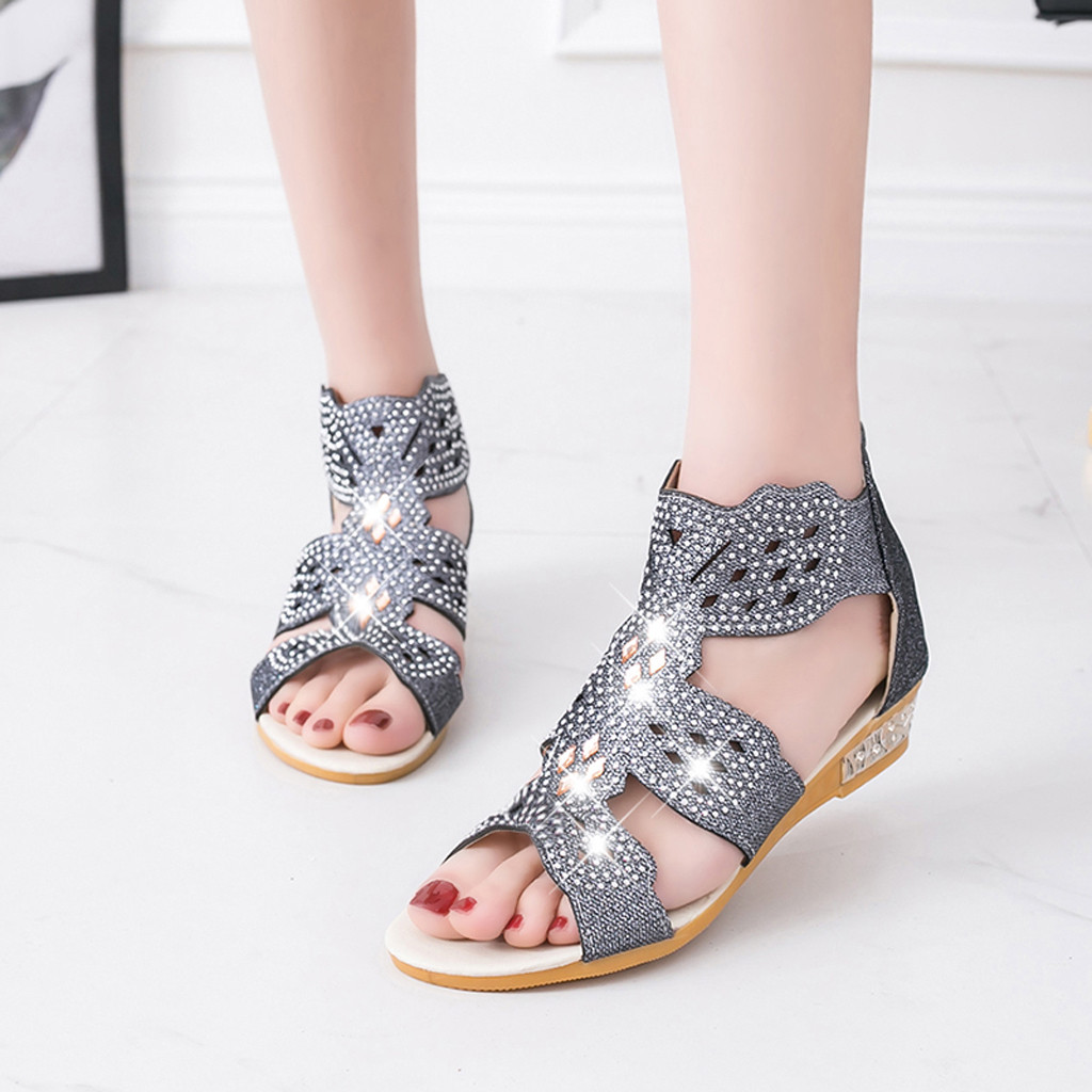 <font><b>Flat</b></font> Simple Rhinestone <font><b>Sandals</b></font> Women Summer Platform <font><b>Sexy</b></font> Designer <font><b>Sandals</b></font> Casual Bohemian <font><b>Sandals</b></font> image