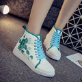2017 New Canvas Flower Embroidered Women Skateboarding Shoes Breathable High-top Spring Summer Women Shoes